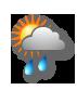 Bewölkt mit Regen oder Regenschauer