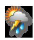 Bewölkt mit Regen und Gewitter
