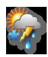 Bewölkt mit Regen, Schneeregen, Graupel, Hagel und Gewitter