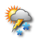 Bewölkt mit Schneeregen, Graupel, Hagel und Gewitter